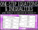 One-Step Equations and Inequalities Mixed Practice Activity (6.9A, 6.9B, 6.9C)