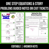 EDITABLE One Step Equations and Story Problem Solving Grap