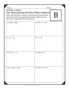 One Step and Two Step Equations Partner Activities