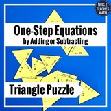 One Step Equations by Adding and Subtracting Triangle Puzzle