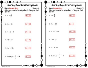 One Step Equations by Multiplication / Division : No Prep Fluent in Math Series