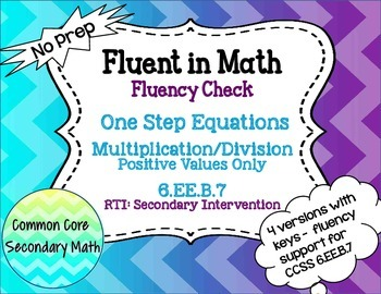 One Step Equations by Multiplication / Division : No Prep