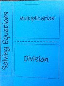 One Step Equations by Multiply or Division Foldable