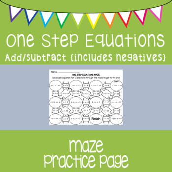 One Step Equations {maze} adding, subtracting, and negatives