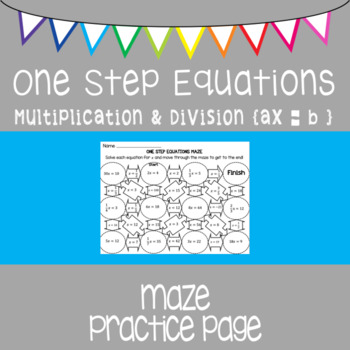One Step Equations {maze} multiplying and dividing