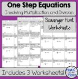 One Step Equations (multiplication and division) Scavenger Hunt Worksheets