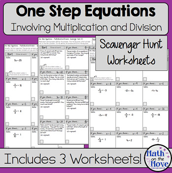 One Step Equations Multiplication And Division Scavenger Hunt