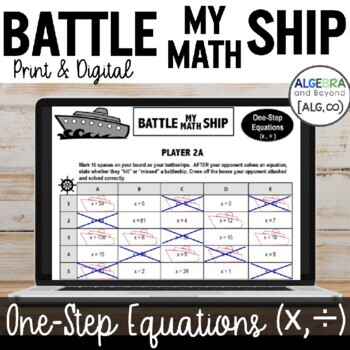 One Step Equations (multiply and divide only) - Battle My Math Ship Activity