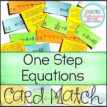 One Step Equations on a Number Line - Word Problem Matching Cards