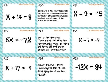 One Step Equations (w/ Integers) Task Cards and Game Board