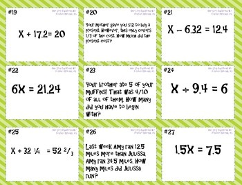 One Step Equations (w/ Positive Rational Numbers) Task Cards and Game Board