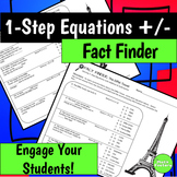 One Step Equations with Addition and Subtraction Fact Finder