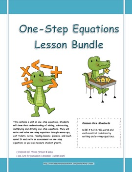 One Step Equations with Common Core Standards