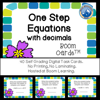 One Step Equations with Decimals Boom Cards--Digital Task Cards