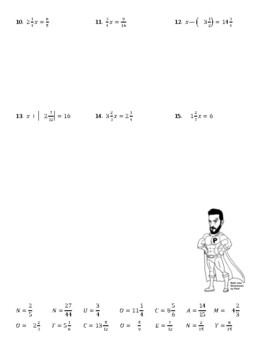 One Step Equations with Fractions Joke Worksheet
