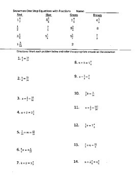 One Step Equations with Fractions Snowman