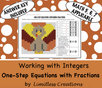 One-Step Equations with Fractions Thanksgiving Activity
