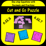One-Step Equations with Fractions and Decimals Cut and Go Puzzle