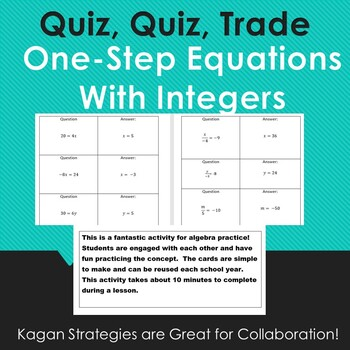 One-Step Equations with Integers Quiz, Quiz, Trade