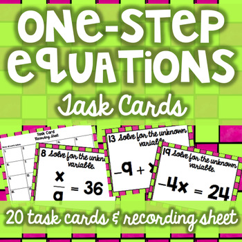 One-Step Equations with Integers Task Cards