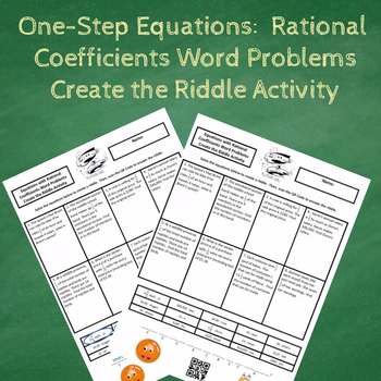 One-Step Equations with Rational Coefficients Word Problems Create a Riddle