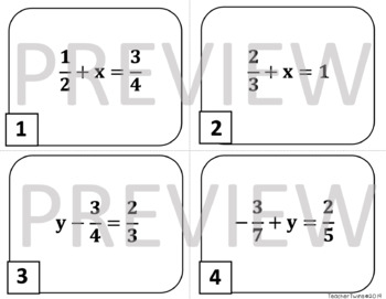 One Step Equations with Rational Numbers Task Cards