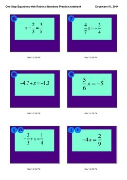 One Step Equations with Rational Numbers Practice