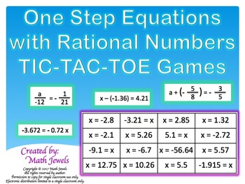One Step Equations with Rational Numbers TIC-TAC-TOE Games