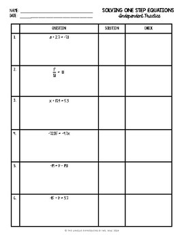 One-Step Equations with Rational Numbers Worksheet