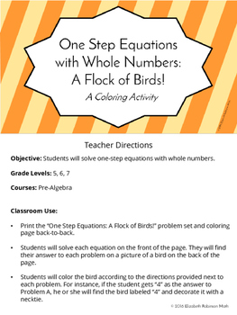 One Step Equations with Whole Numbers: A Flock of Birds Color by Number