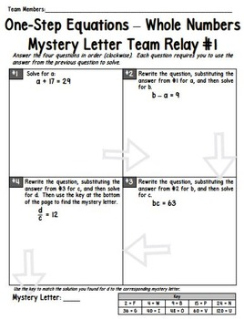 One-Step Equations (with Whole Numbers) Team Relay
