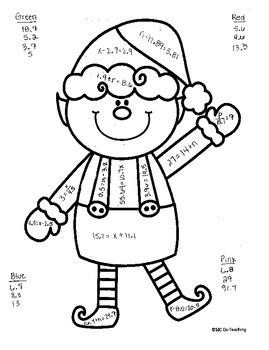One Step Equations with decimals Christmas Elf