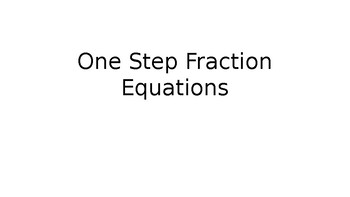 One Step FractionEquations Identifying the Operaation