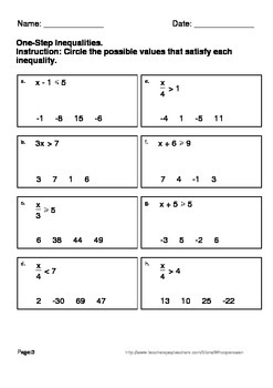 One-Step Inequalities - possible values Worksheets