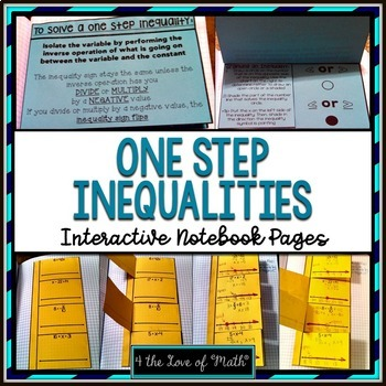 One Step Inequalities Interactive Notebook Page