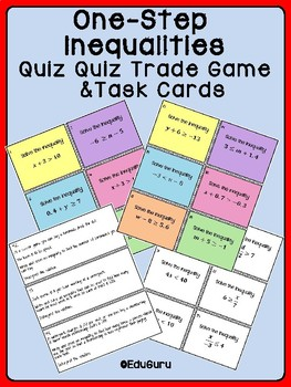 One-Step Inequalities Quiz Quiz Trade Game & Task Cards