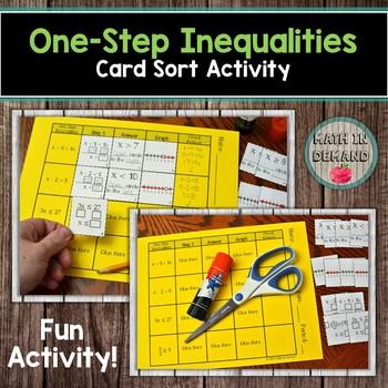 One-Step Inequalities Card Sort Activity