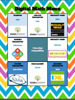 One Step Inequalities - Digital Choice Board - 6th Grade Math