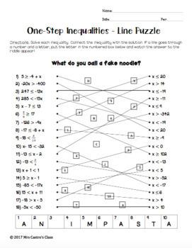 One-Step Inequalities: Line Puzzle Activity