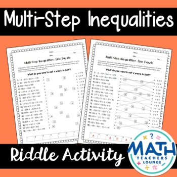 One-Step Inequalities: Line Puzzle Activity