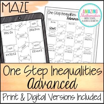 One Step Inequalities Maze - Advanced