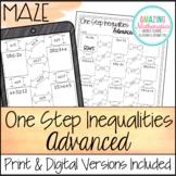 One Step Inequalities Maze - Advanced Worksheet