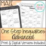One Step Inequalities Maze Worksheet - Advanced