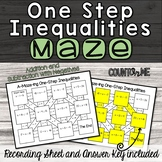 No Prep One Step Inequalities Maze (Addition and Subtraction)