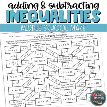 One-Step Inequalities Maze | Addition and Subtraction
