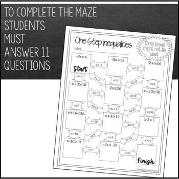 One Step Inequalities Maze - Beginner