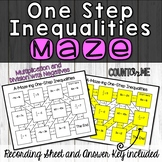 No Prep One Step Inequalities Maze (Multiplication and Division)