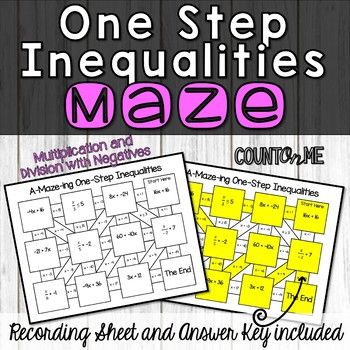 One Step Inequalities Maze (Multiplication and Division)