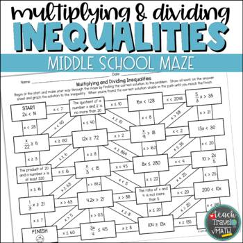 One-Step Inequalities Maze | Multiplication and Division