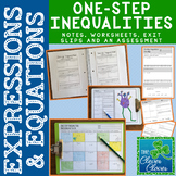 One-Step Inequalities - Notes, Worksheets, Exit Slips and Assessment